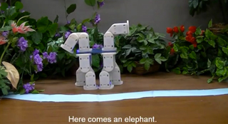 Photo: Two small robots surrounded by plants